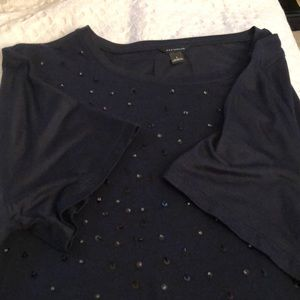 Navy blue short sleeve T-shirt with black sequins